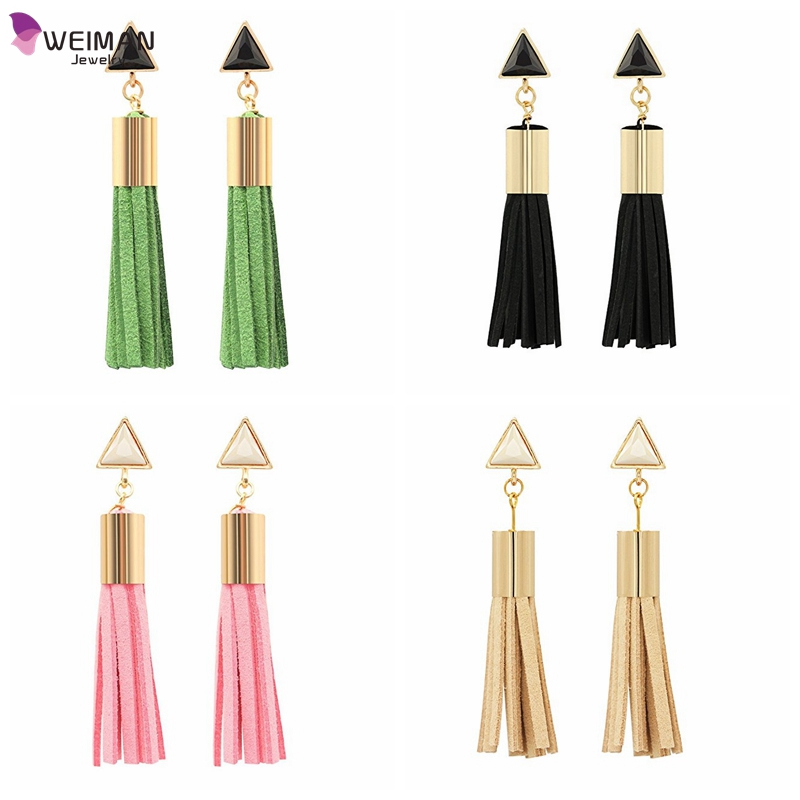 High quality factory wholesale alloy pretty earrings with tassel,leather tassel long antique fashion drop earrings