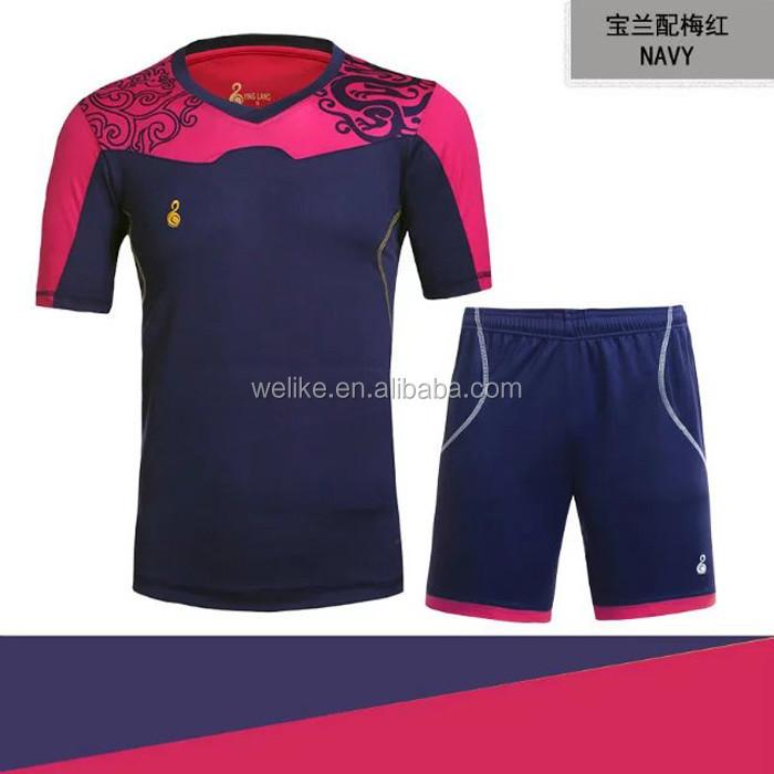 Azul oscuro Rosa conjuntos de uniformes de fútbol nuevo diseño uniforme del  club barato camisas del 8c0163f78a1c9