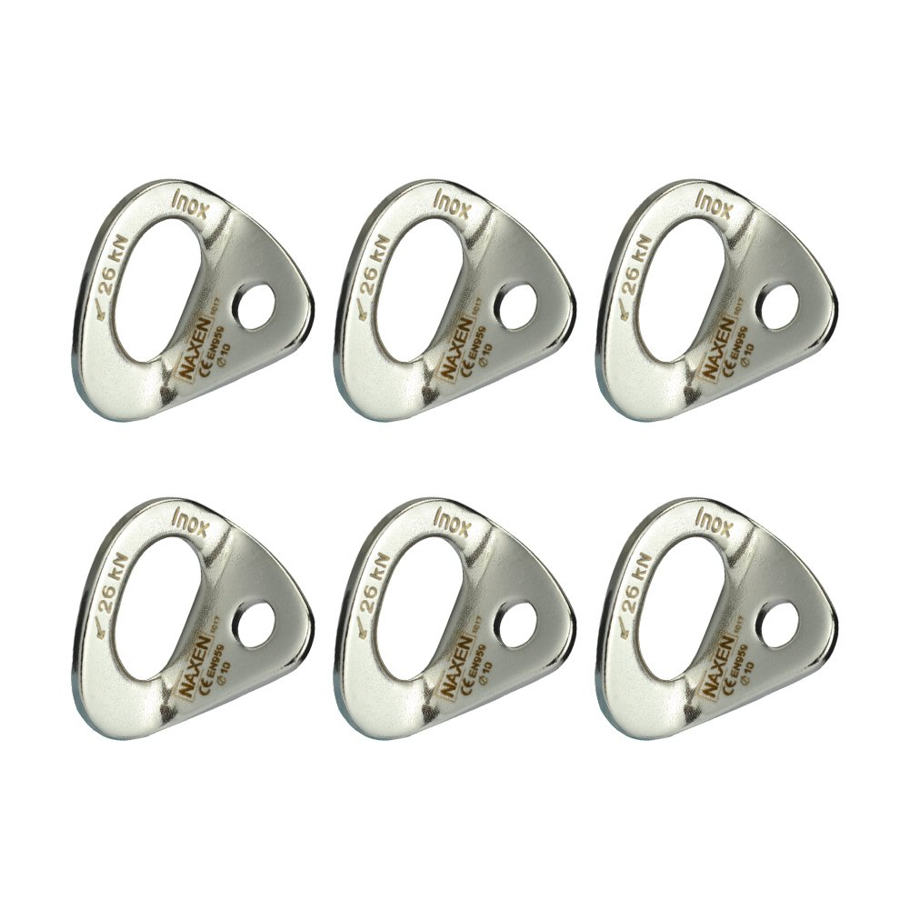 "NAXEN 26kN Bolt Hanger Stainless Steel Climbing Hanger Climbing Anchor 10 mm / 3/8"" Bolt Pack of 6"