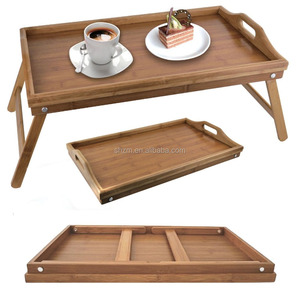 Wholesale New Design Bamboo Serving Tray Foldable Breakfast Dinner Bed Food Servin Tray Bamboo Bed Laptop Table with Folding Leg