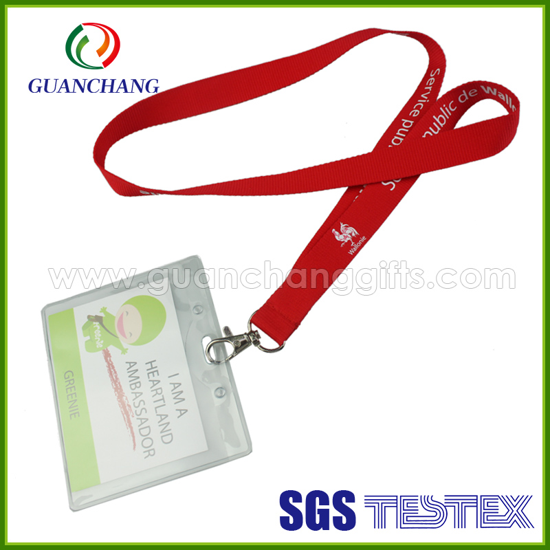 Wholesale customized lanyard with clear pvc work id card holder
