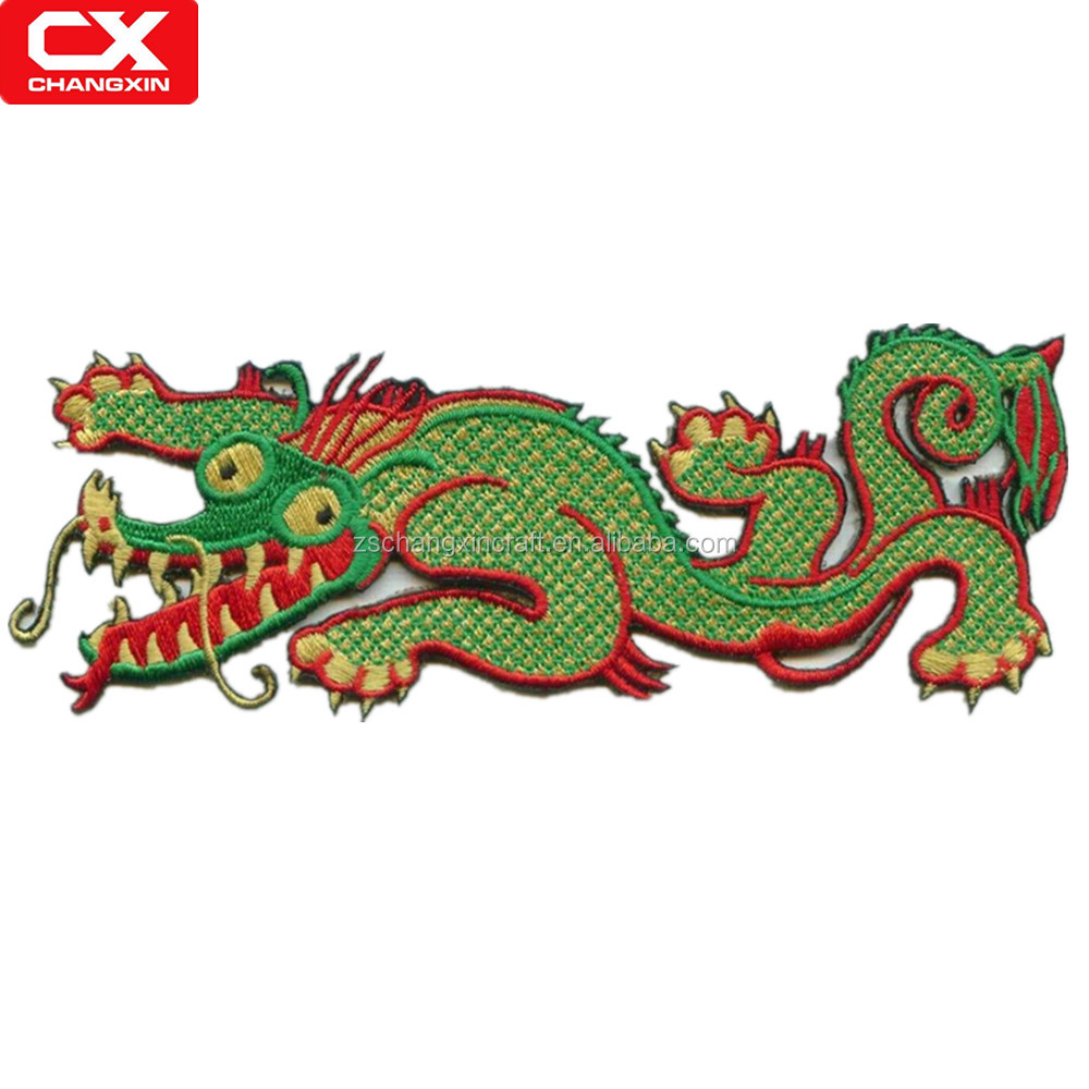 Custom design chinese dragon pattern embroidery patch