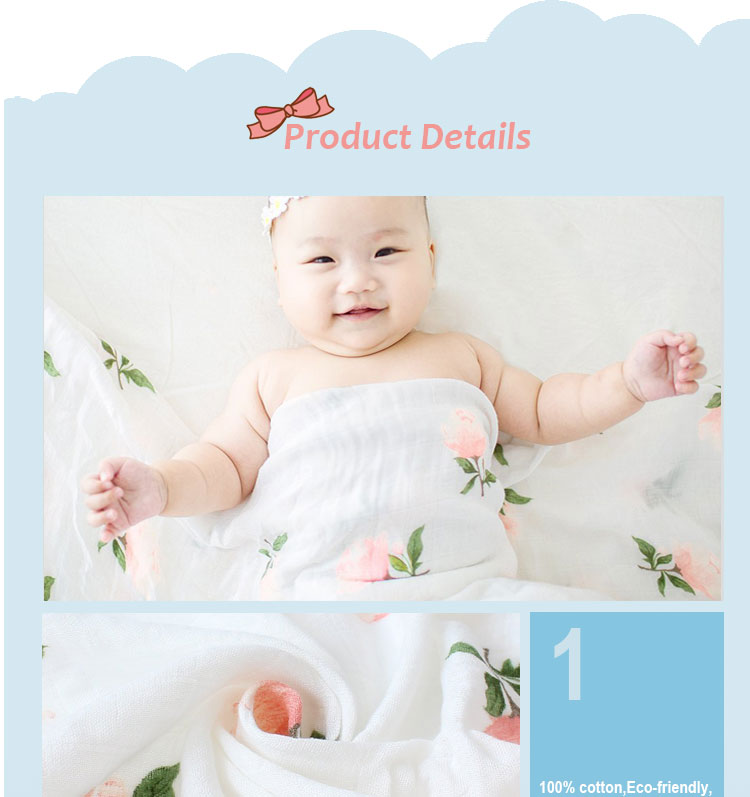 custom logo lovely printed baby muslin blankets weighted blanket