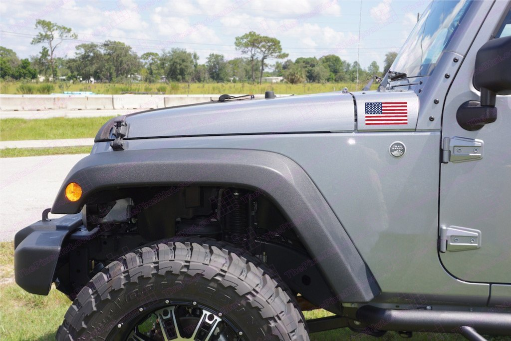 The Pixel Hut gs00246 Full Color and Laminated USA Flag Jeep Hood Decal Kit