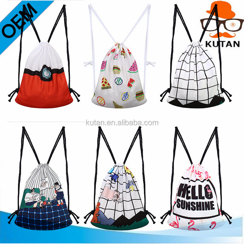 Non-woven Kids Cute/Cartoon drawstring canvas bag for phone parts