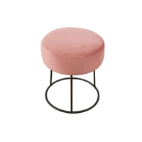Industry Style Simple Design Metal Round Fabric Ottoman Foot Stool