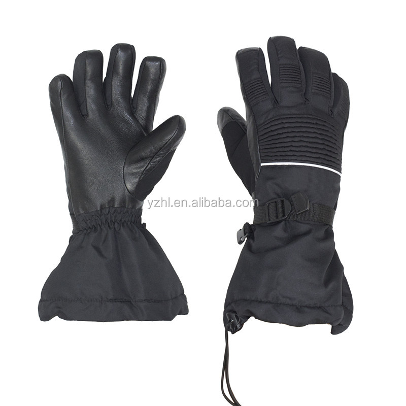 Black Snowboard leather ski Glove Durable Outdoor winter Gloves for Adults