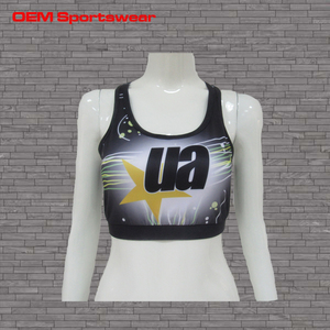 Free samples Black youth cheerleading sports bras sublimated cheer sports bra