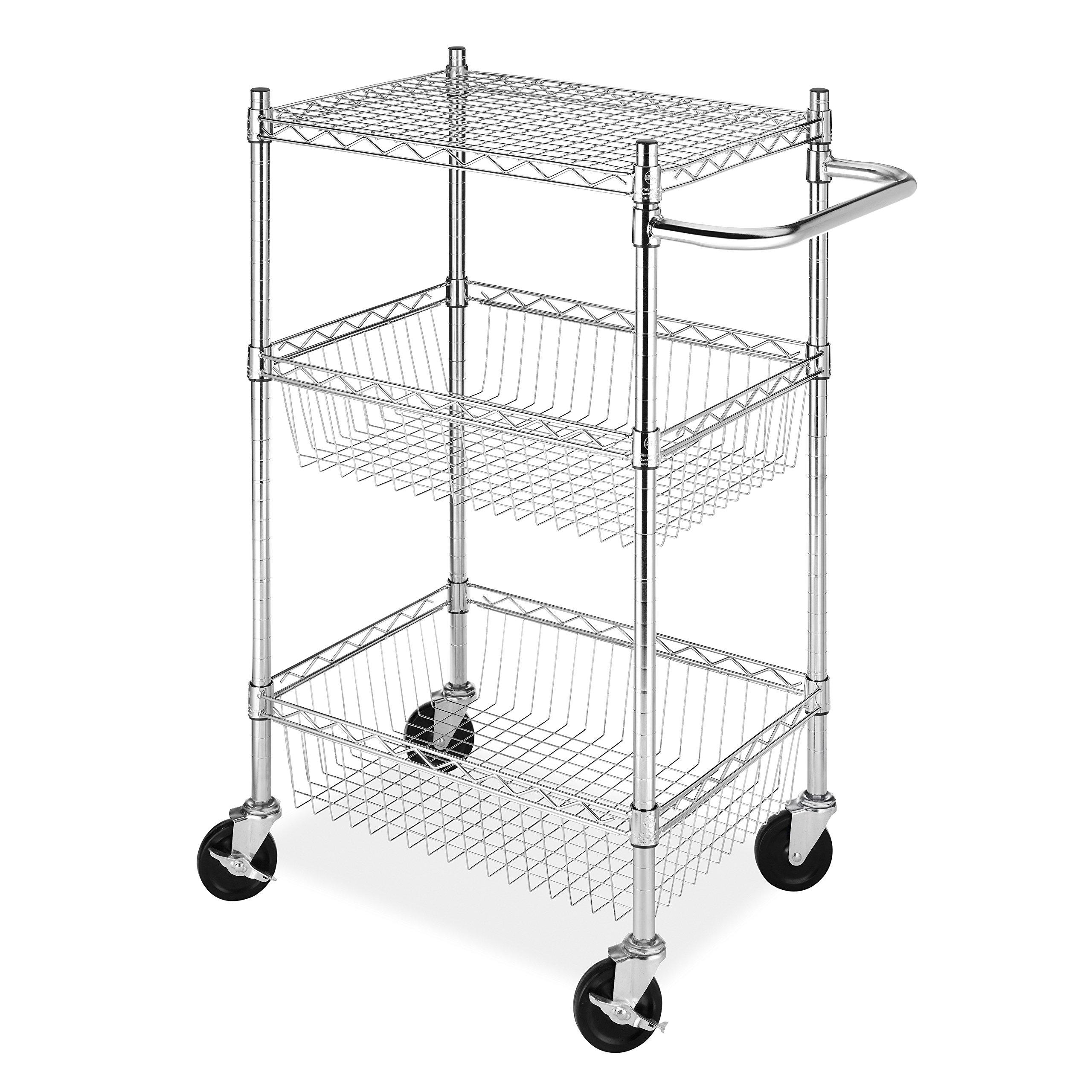 """18"""" Deep x 24"""" Wide x 39"""" High 2 Tier Chrome Wire Basket Shelf Cart"""