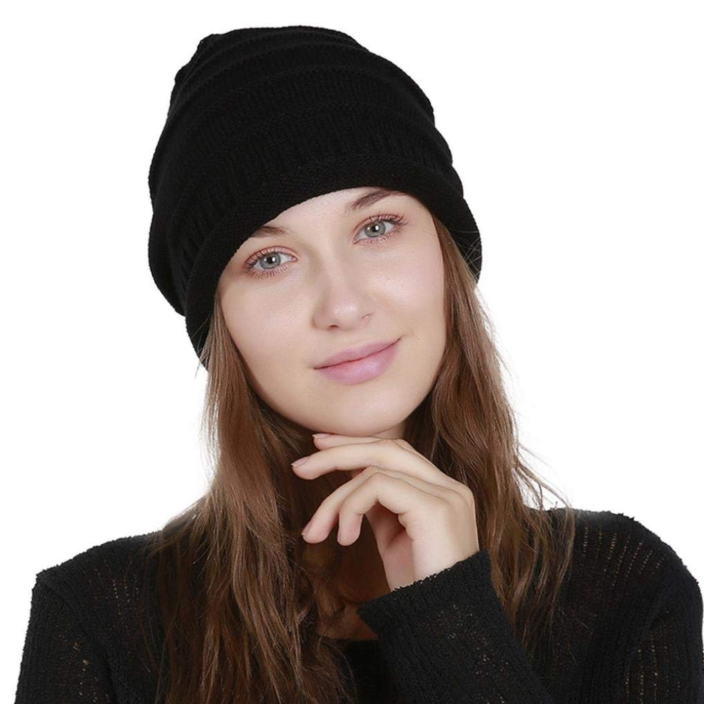 Fheaven Oversized Baggy Thick Warm Hat Men's Women's Knit Beanie Solid Winter Hat Ski Slouchy Chic Cap (Black)