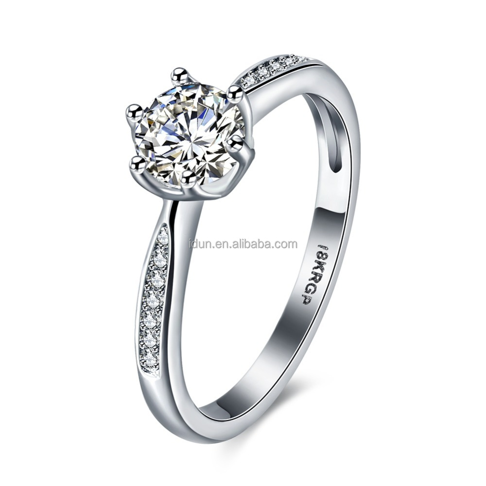 Women White Gold Color Crystal CZ Zirconia Finger Midi Engagement Ring18K White Gold GP Bridal Engagement Ring