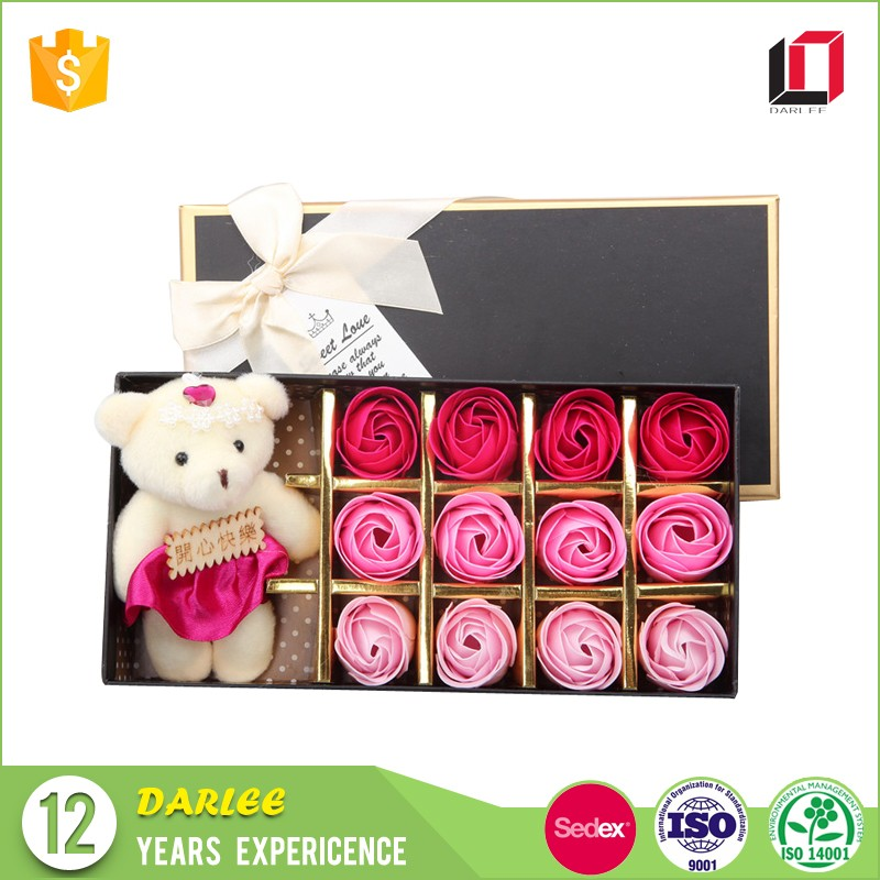 High quality rectangle custom carving rose soap flower gift packaging box with ribbon lid