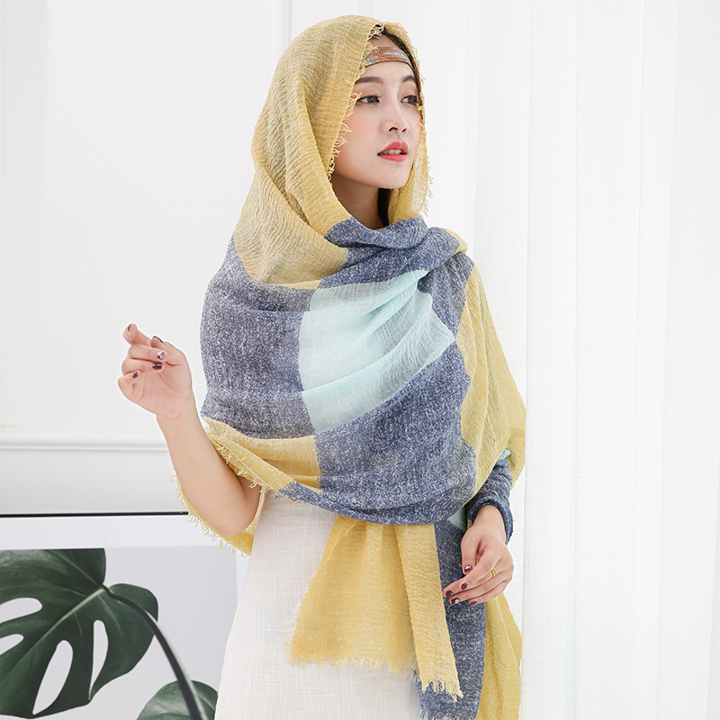 New Design Women Four Side Natuer Tassel Shawls Scarf Cotton Linen Crimple Crinkle Cotton Hijab scarf