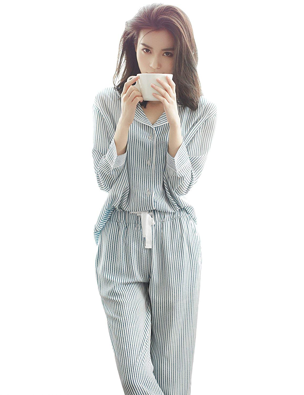 cfa33a1babd Get Quotations · Women s Pajamas Long Sleeve Sleepwear Soft Pajamas for  Women 100% Rayon Printed PJ Set