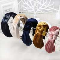 High Quality Fashion Women Solid Color Braided Gold Velvet Hair band Hair Accessories Daily Headband