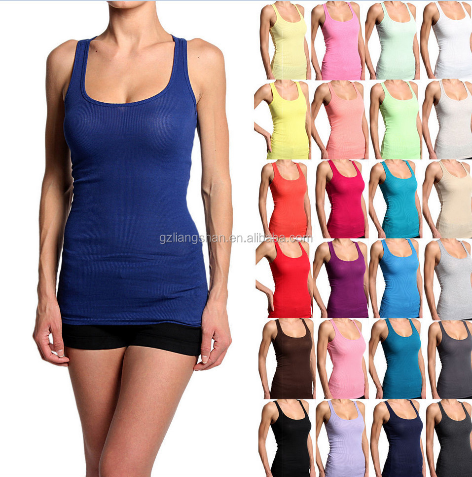 268adf39077c4 BASIC Ribbed Racerback Stretch LONG MUSCLE TANK TOP in bulk Scoop Sleeveless  Tee