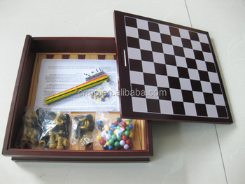 high quality mikado chess checkers backgammon 5 in 1 wooden game set - Backgammon Game