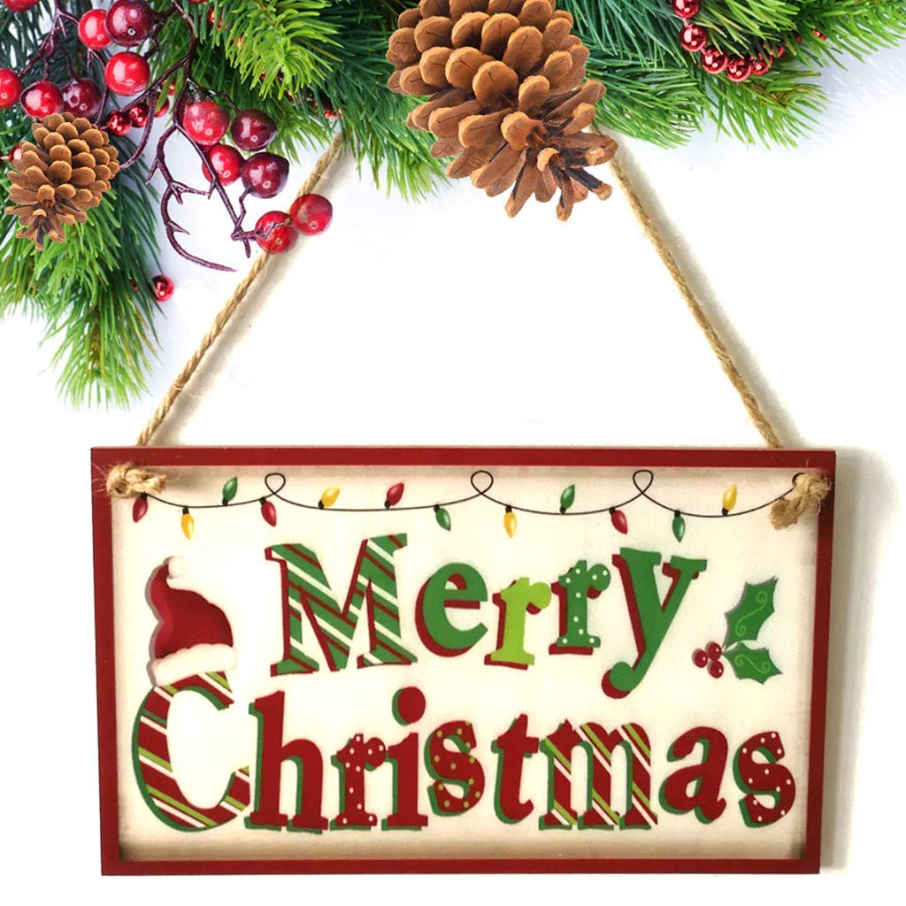 EA-Stone Door Hanging Sign, Merry Christmas Wooden Plaque Board Door Wall Hanging Wood Sign Home Decoration
