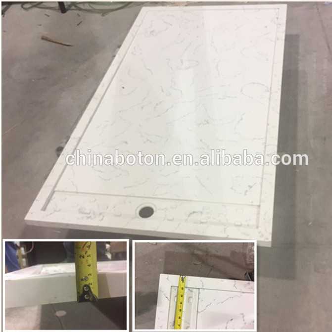 Polished Solid Surface Natural Stone High Shower Tray