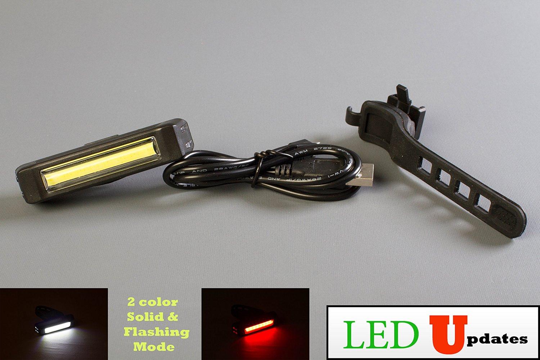 LEDupdates LED Bike light Headlight tail light Rechargeable COB Safety Flashing helmet light with USB Cable