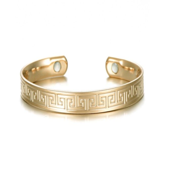 gold plated the great wall shape magnetic therapy bracelet cuff for women