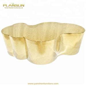 Luxury hotel tables copper gold chrome stainless steel cloud coffee table modern