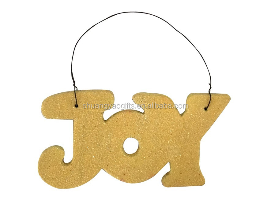 "Wooden christmas ""JOY"" letter hanging ornaments for XMAS tree with yellow shining glitter"