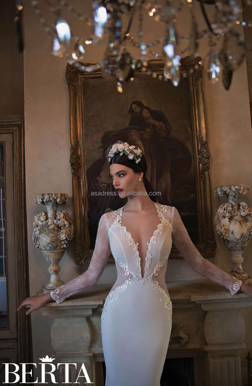 4dcdb8b7ac9ba Western Style Sexy Mermaid Wedding Dress For Fat Woman Berta Long Sleeve  Sheer Lace Wedding Dresses 2015 New Fashion(btb02) - Buy Wedding Dresses ...