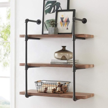 3 Tiers Retro Pipe Shelves Iron Industrial Style Wall Mount Pipe Wood Book Shelf Iron Wall Shelf Living Room Kitchen Wall Shelf