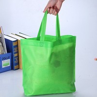 HIT eu standard azo free recylable reusable cheap silver reinforced handle clothes fruit packaging green shopping non woven bag