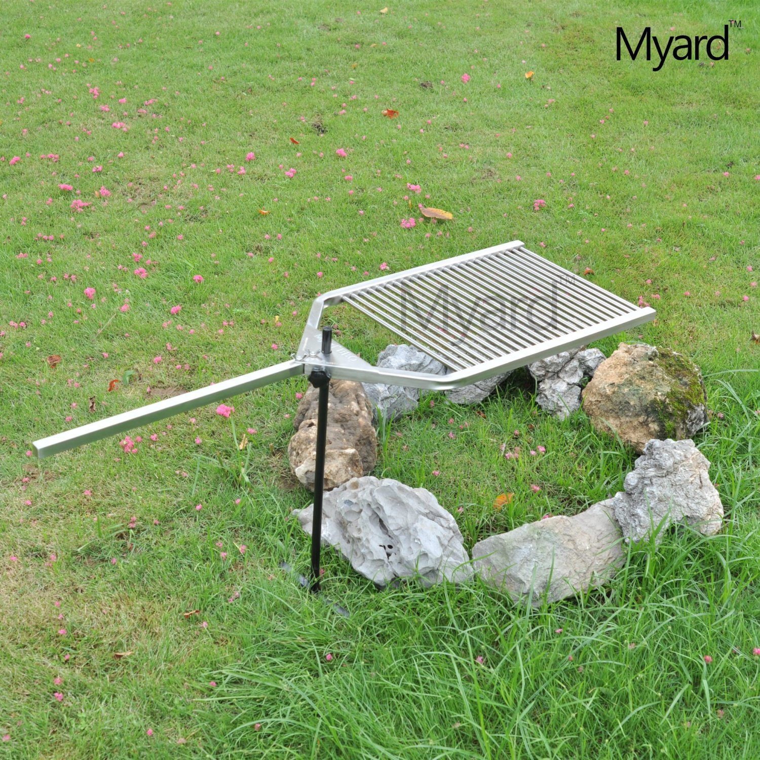 Myard Stainless Steel 304 Portable Open Fire Pit Campfire BBQ Swivel  Cooking Grill Grid Grate U0026