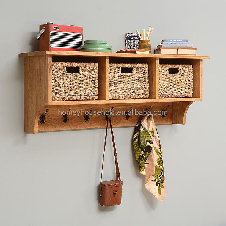 Home living room furniture wood wall shelf display hanger