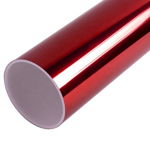 Red mirror chrome vinyl film for car wrapping bubble free car glossy metal chrome vinyl sticker 1.52*30m