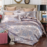 Wholesale Satin Jacquard Wedding 100% Polyester Silk Bedding Set 4 Pieces