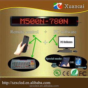 Phone bluetooth app! M500N-780R(P7.62-7x80Red) 65.2x9.7x3.4cm scrolling led display bluetooth signs lights