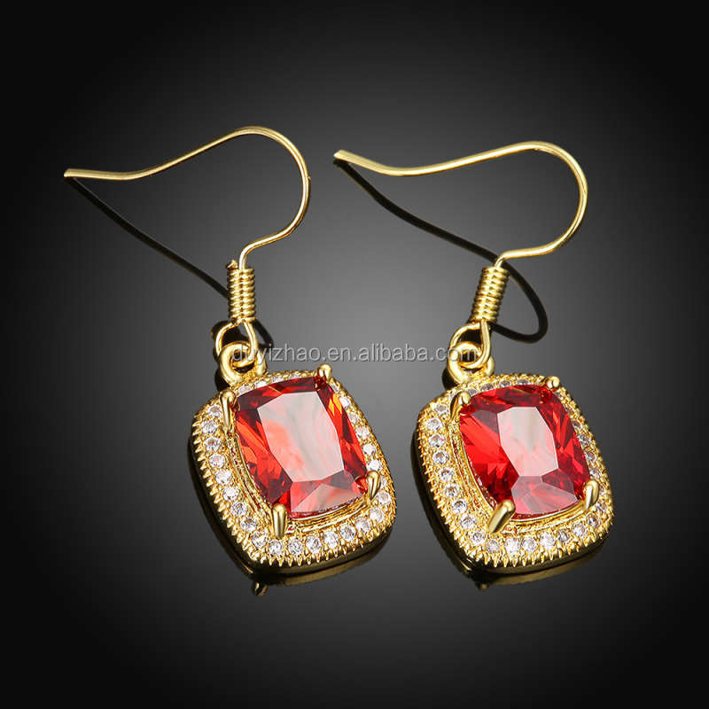 fashion earring designs new model gold square ruby gemstone earrings stud