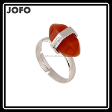 2015 Fashion Hot Sell High Quality Quartz Gems Natural Stone Pendant Rings Silver Plated Ring For Women and Men