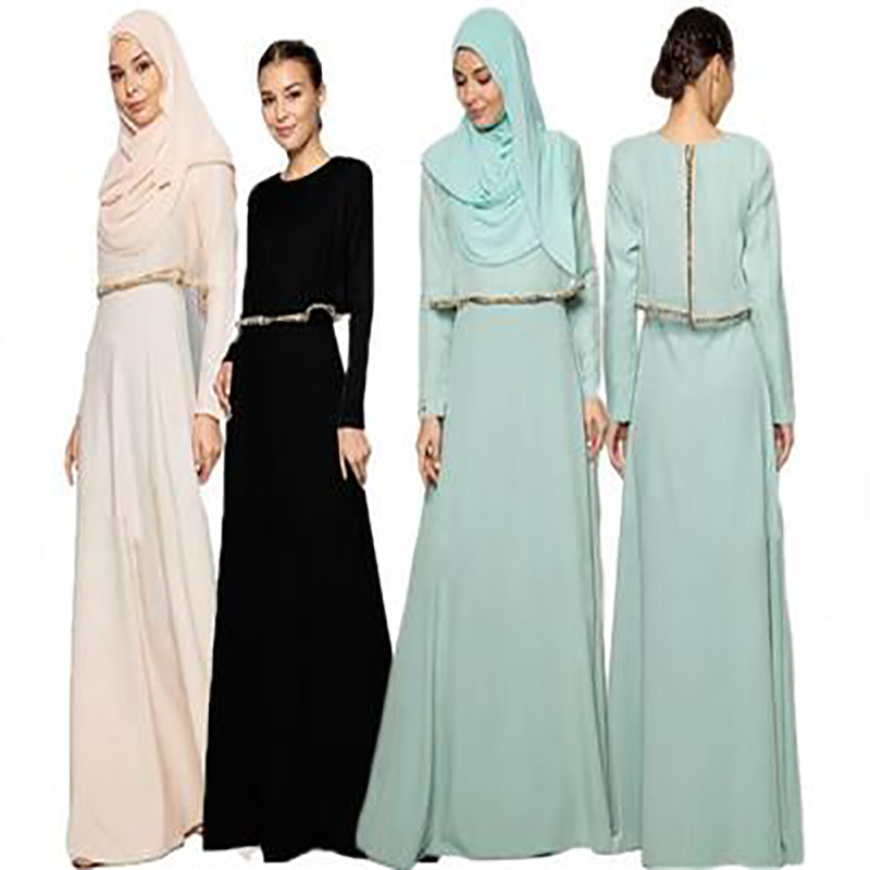 Modest fashion dubai fancy zipper islamic clothing designs 2017 dubai 2 pieces abaya
