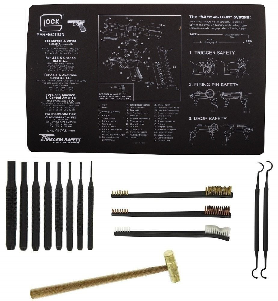 """Glock Original Cleaning Work Tool Bench Gun Mat + 8pc Pin Punch Tool Set Kit + Brass Hammer + 3 Double Ended 7 """" Brushes - Brass, Copper, Nylon & 2 Double Ended Curved Picks"""
