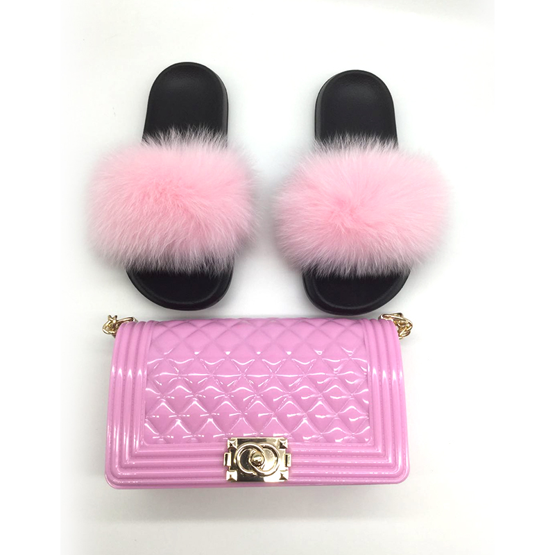 New Multi colored crossbody rainbow jelly woman set bag women handbags purse for women luxury matching fox fur slides sandals