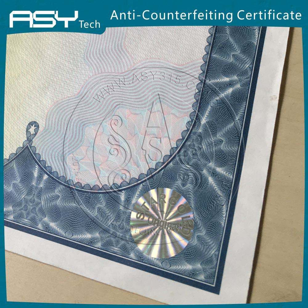 Custom hologram hot foil security A4 certificate paper