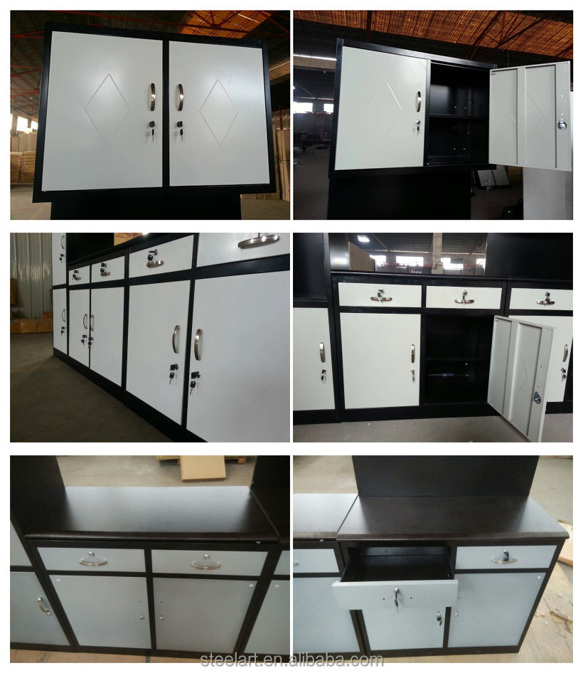 Knock down metal modular corner kitchen pantry cabinet for Steel kitchen cabinets south africa