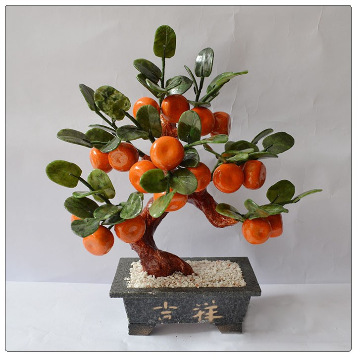 Jade 18 Piece Orange Tree small size ,natural stone tree ,decorative money tree