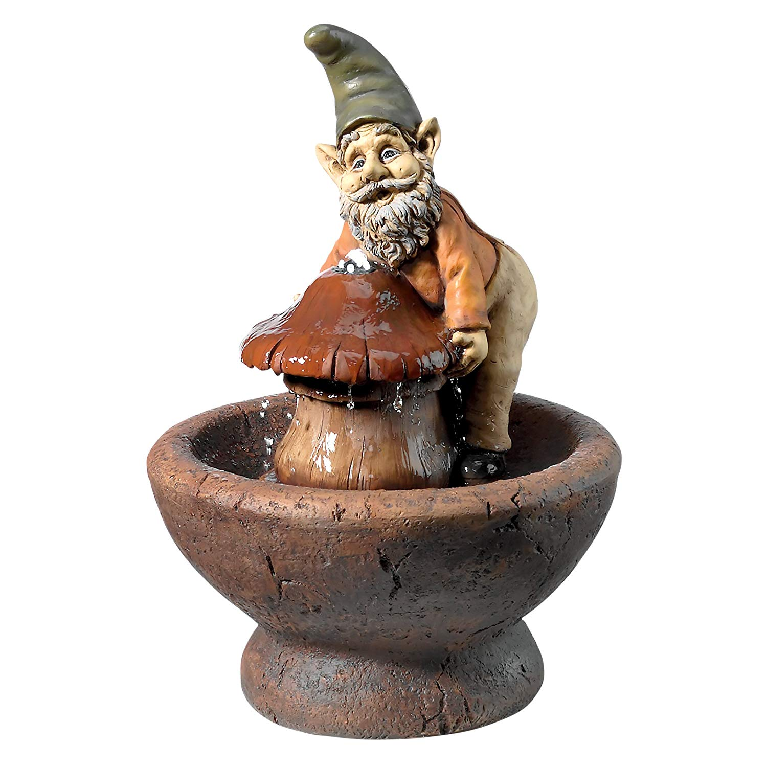 Design Toscano Water Fountain with LED Light - Manny and His Mushroom Garden Gnome Fountain - Outdoor Water Feature