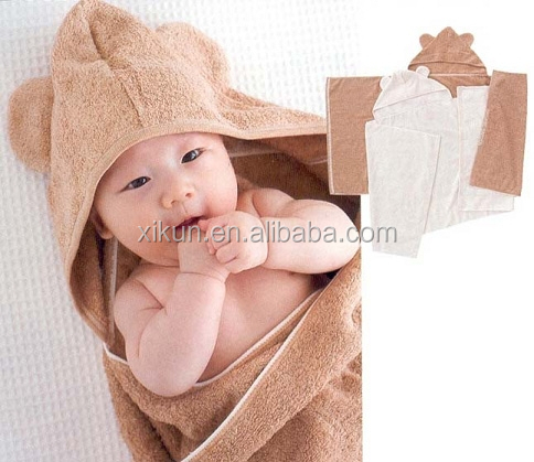 solid color plush embroidery microfiber hooded baby towel