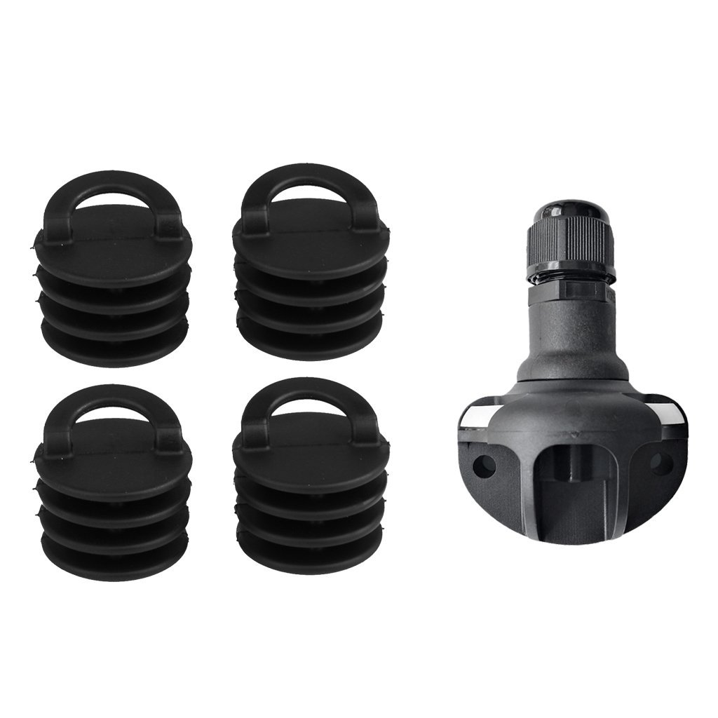 Dovewill 4pcs Kayak Marine Boat Scupper Stopper Drain Holes Plugs w/ Flag Pole Mount