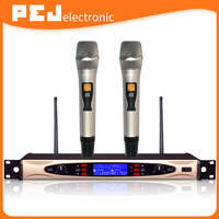 Professional microfone Dual Channel UHF Wireless Microphone System with 2 microphones for karaoke conference