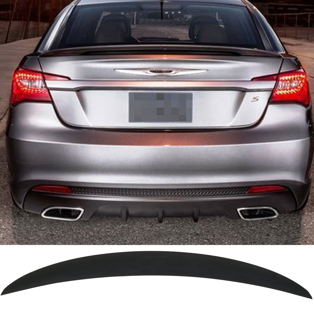 Trunk Spoiler Fits 2011-2014 Chrysler 200 | OE Style ANS Unpainted Black Trunk Boot Lip Spoiler Wing Add On Deck Lid By IKON MOTORSPORTS | 2012 2013