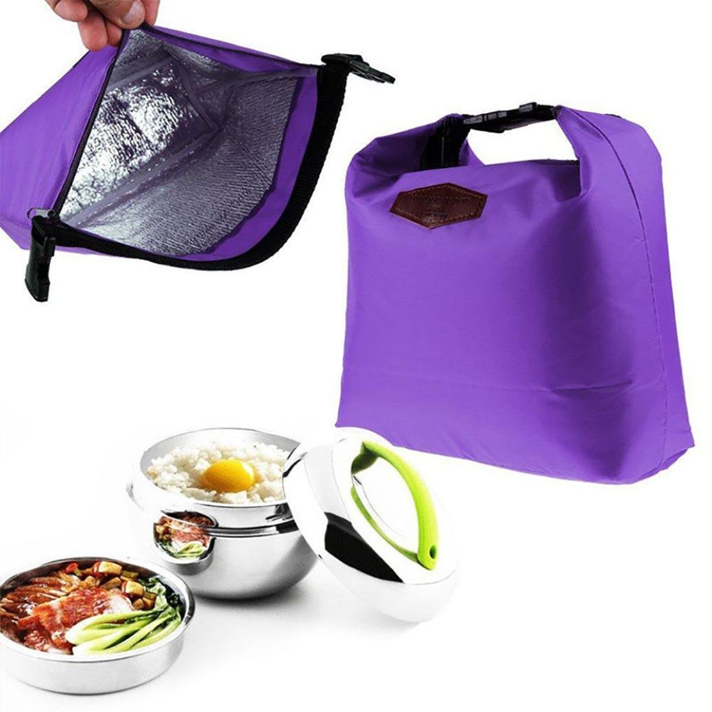 NewKelly Waterproof Thermal Cooler Insulated Lunch Box Portable Tote Storage Picnic Bags (Purple)