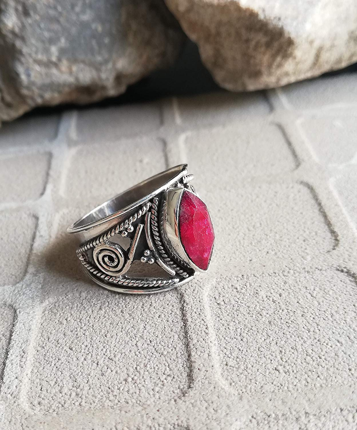 Ruby Ring, 925 Sterling Silver, Bezel Ring, Wide Band Ring, Statement Ring, Engagement Ring, Jewelry For Her, Midi Ring, Antique Ring, Vintage Style Ring, Victorian Ring, Jewellery, US All Size Ring